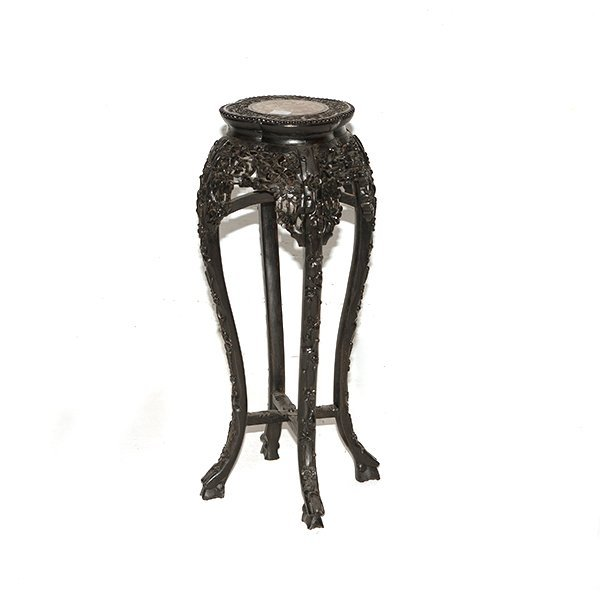 """Heavily Carved Asian Plant Stand H 33"""" x 11"""""""