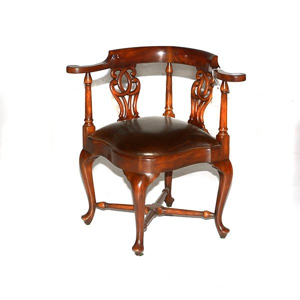 """Scroll Back Seat Corner Chair with Leather Seat H31"""" x"""