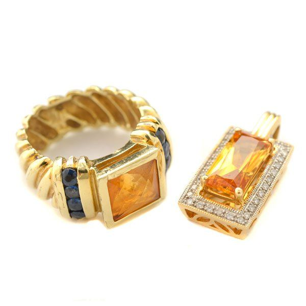 Citrine, Sapphire, Diamond, 14k Yellow Gold Jewelry