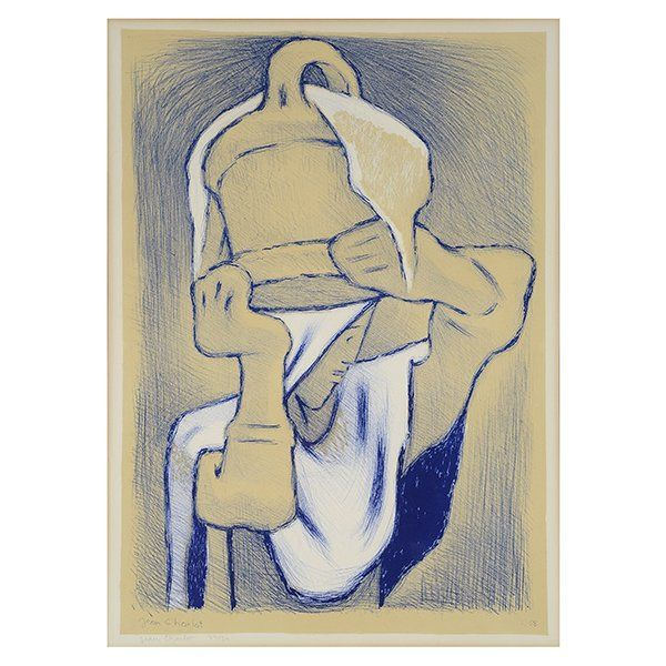 """JEAN CHARLOT """"Woman with Pot on Her Head"""" Lithograph."""