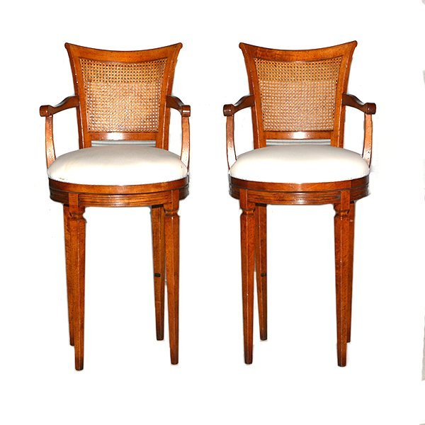 "Pair of Swivel Cane Back Walnut Barstools H48 1/2"" x"