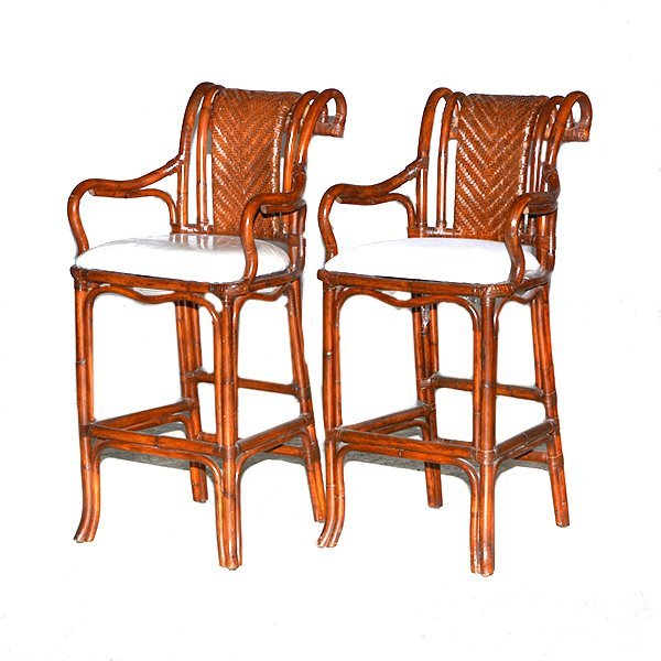 "Pair of Bamboo Scroll Back Barstools H46"" x 22 1/2"" x"