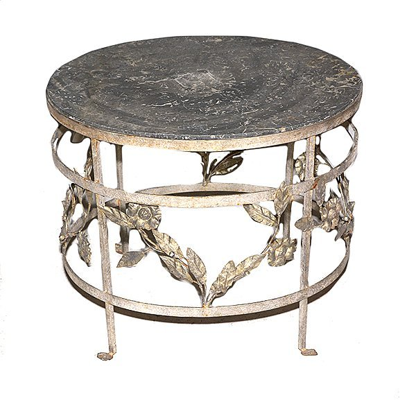 Marble Top with Grapes and Leaves Motif Metal Base H24""