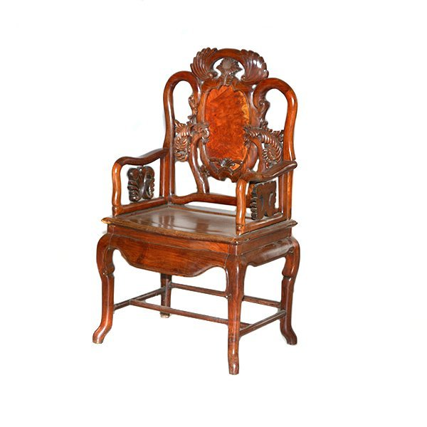 "Mahogany Asian Motif Chair H44"" x L25"" x D19"""