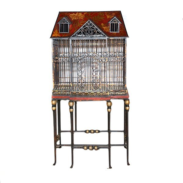 "Iron Hand Painted Birdcage with Stand H61"" x L 30"" x"