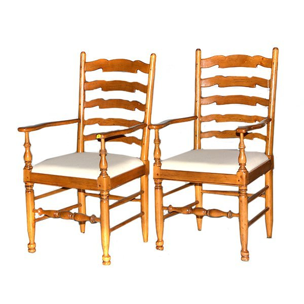 Pair of Ladder Back Pine English Chairs with Arms H43""
