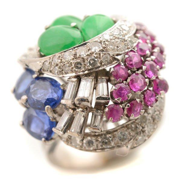 Multi-Stone, Diamond, 14k White Gold Ring.
