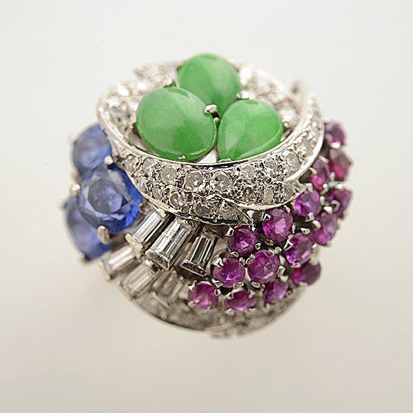 Multi-Stone, Diamond, 14k White Gold Ring. - 2