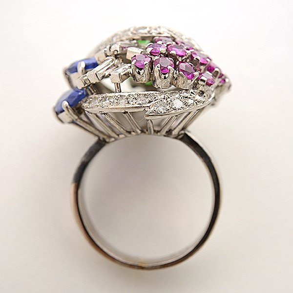 Multi-Stone, Diamond, 14k White Gold Ring. - 3