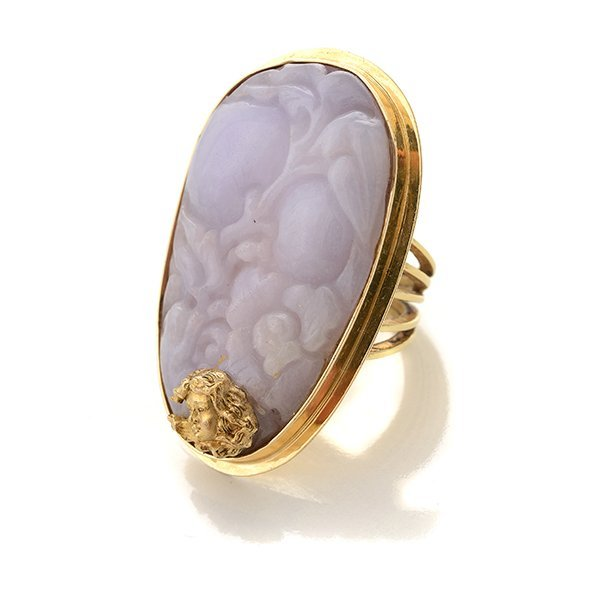 Lavender Jade, 14k Yellow Gold Ring.