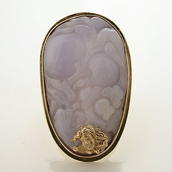 Lavender Jade, 14k Yellow Gold Ring. - 2