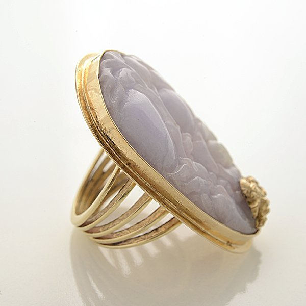 Lavender Jade, 14k Yellow Gold Ring. - 3