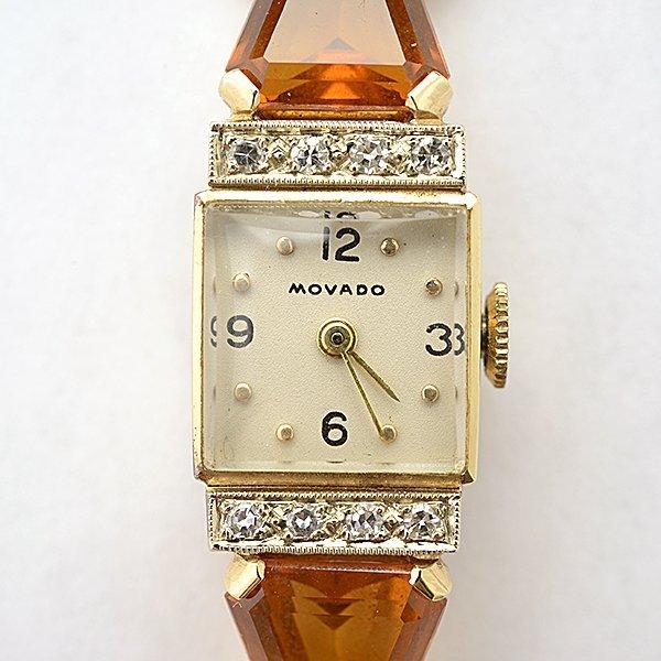 Ladies Retro Movado Citrine, Diamond, 14k Yellow Gold - 2