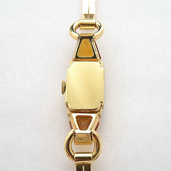 Ladies Retro Movado Citrine, Diamond, 14k Yellow Gold - 4