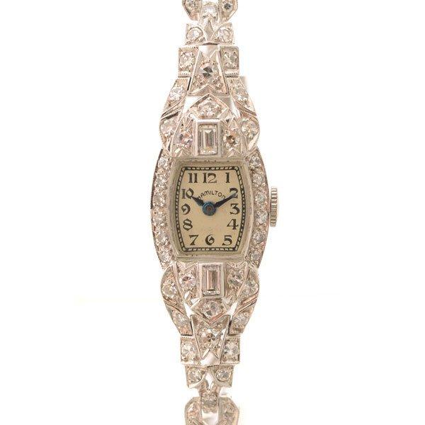 Ladies Hamilton Art Deco Diamond, Platinum Wristwatch.
