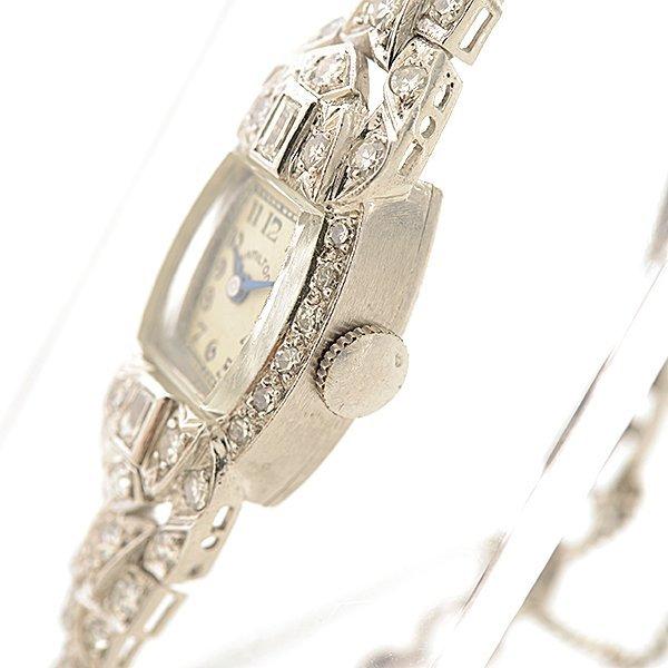 Ladies Hamilton Art Deco Diamond, Platinum Wristwatch. - 2