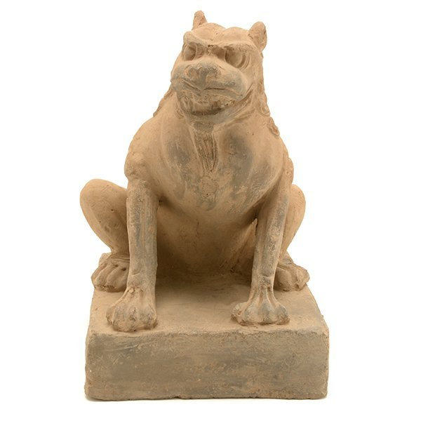 A Pottery Figure of a Guardian Lion, Five Dynasties