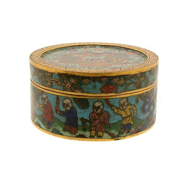 A Cloisonn Enamel Circular Box and Cover, 19th C.