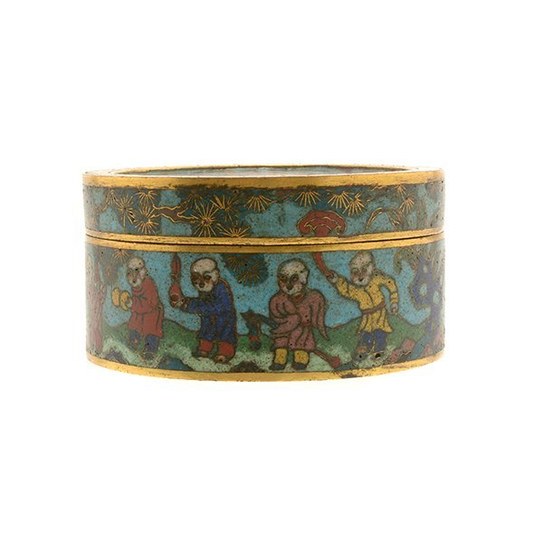 A Cloisonn Enamel Circular Box and Cover, 19th C. - 2