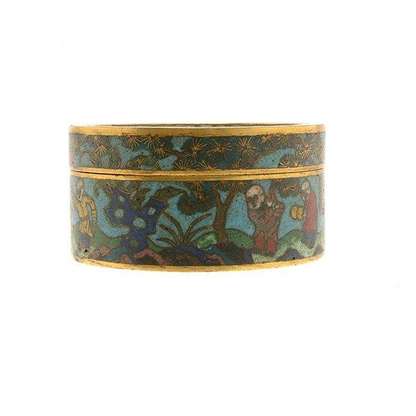 A Cloisonn Enamel Circular Box and Cover, 19th C. - 3