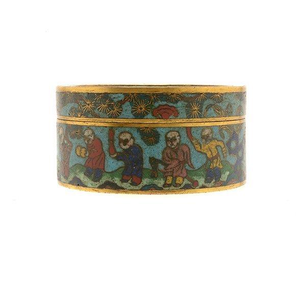 A Cloisonn Enamel Circular Box and Cover, 19th C. - 4