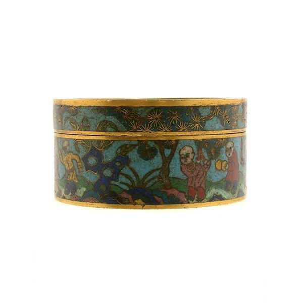 A Cloisonn Enamel Circular Box and Cover, 19th C. - 5