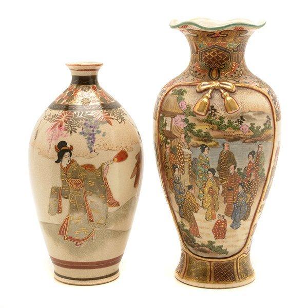 Two Small Japanese Satsuma Vases, Meiji Period