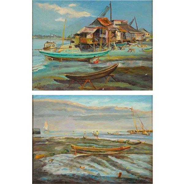 "ELIAS LAXA ""House on Stilts with Boats"" & ""Village"