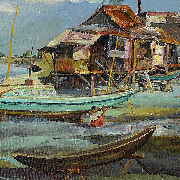 "ELIAS LAXA ""House on Stilts with Boats"" & ""Village - 3"