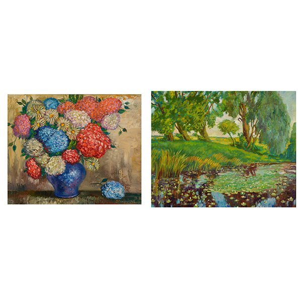 "ALEXANDER KANCHIK ""Water lily Pond"" & ""Still Life Vase"