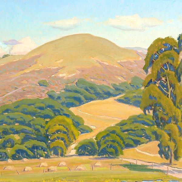 "ARTHUR HILL GILBERT ""California Hills"" Oil on Canvas. - 3"