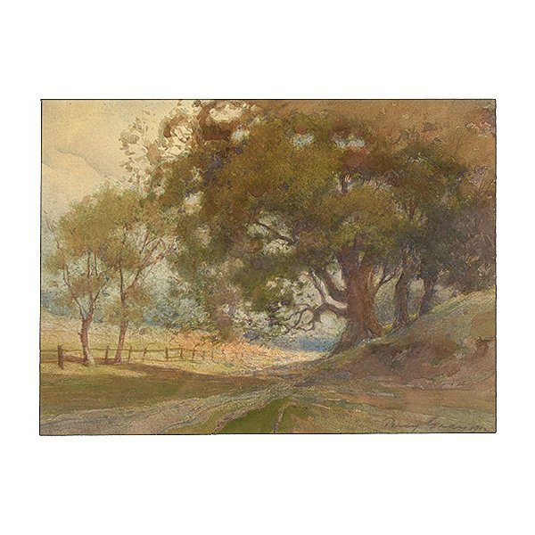 "PERCY GRAY ""Path Under an Oak Tree, 1912"" Watercolor on"