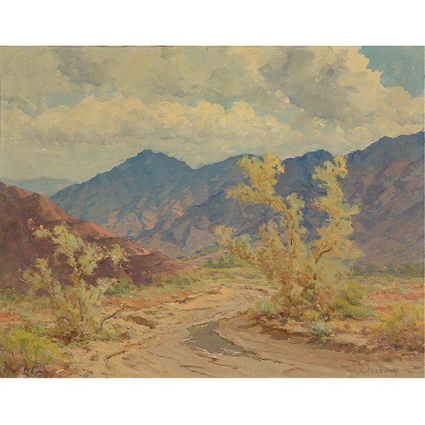 """WILLIAM DARLING """"Desertscape"""" Oil on Canvas Laid on"""