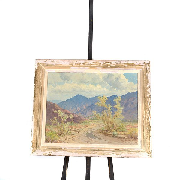 """WILLIAM DARLING """"Desertscape"""" Oil on Canvas Laid on - 8"""