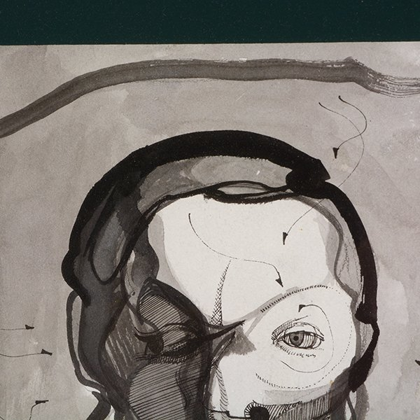 """MEXICAN SCHOOL """"The Mask"""" & """"Side Portrait"""" Mixed Media - 3"""