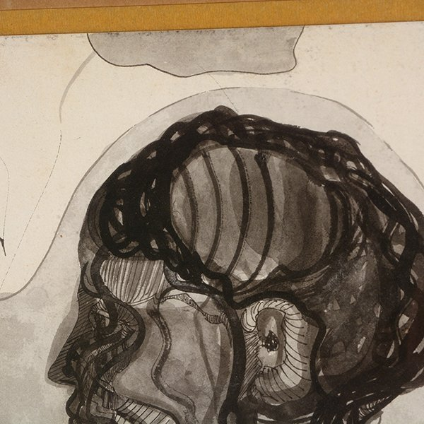 """MEXICAN SCHOOL """"The Mask"""" & """"Side Portrait"""" Mixed Media - 8"""