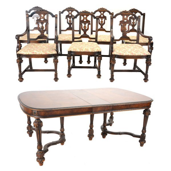 Baroque Revival Walnut Dining Table and Seven Chairs