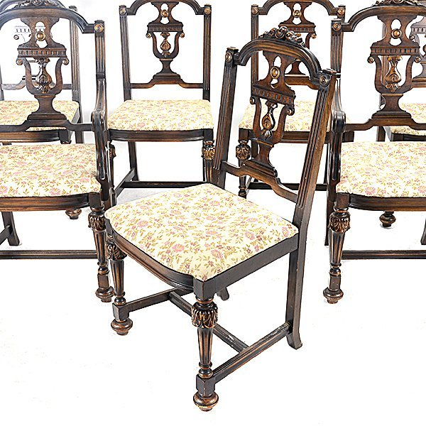 Baroque Revival Walnut Dining Table and Seven Chairs - 3