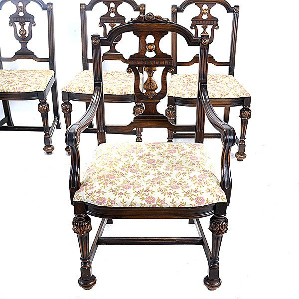 Baroque Revival Walnut Dining Table and Seven Chairs - 4