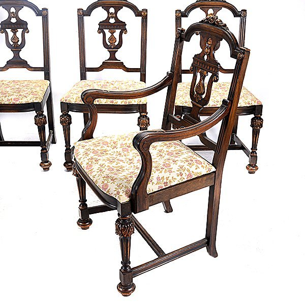 Baroque Revival Walnut Dining Table and Seven Chairs - 5