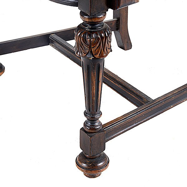 Baroque Revival Walnut Dining Table and Seven Chairs - 6