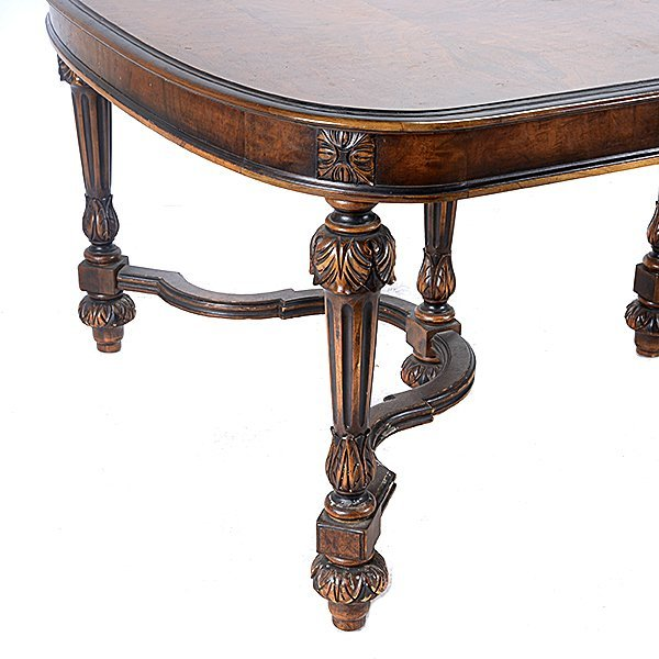 Baroque Revival Walnut Dining Table and Seven Chairs - 7