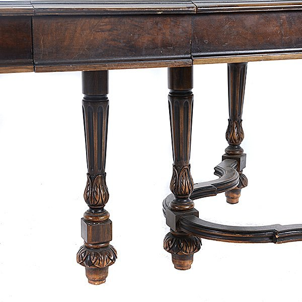 Baroque Revival Walnut Dining Table and Seven Chairs - 8