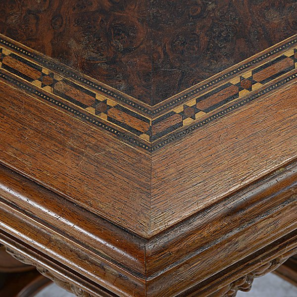 Italian Renaissance Style Hexagonal Inlaid Tripod Table - 4