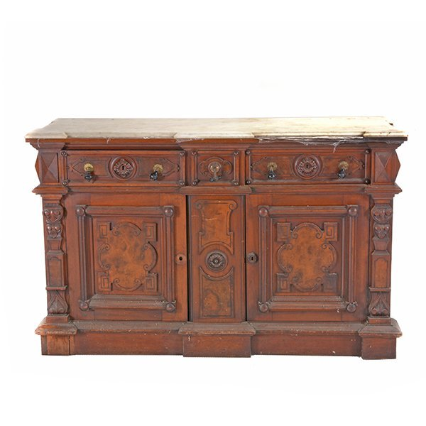 Victorian Renaissance Revival Marble Top Sideboard