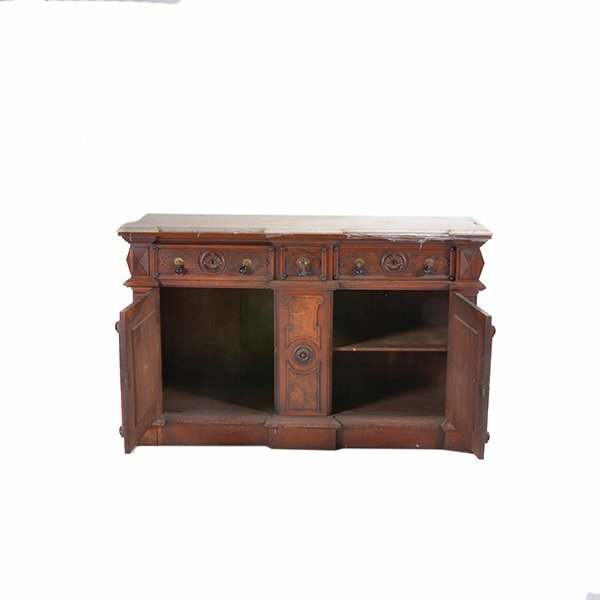 Victorian Renaissance Revival Marble Top Sideboard - 3