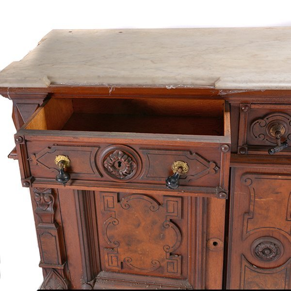 Victorian Renaissance Revival Marble Top Sideboard - 6