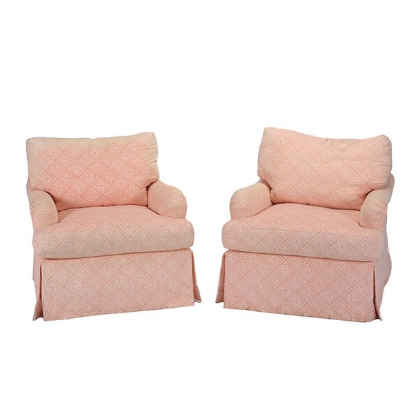 Pair of Apricot and Cream Patterned Upholstered Club