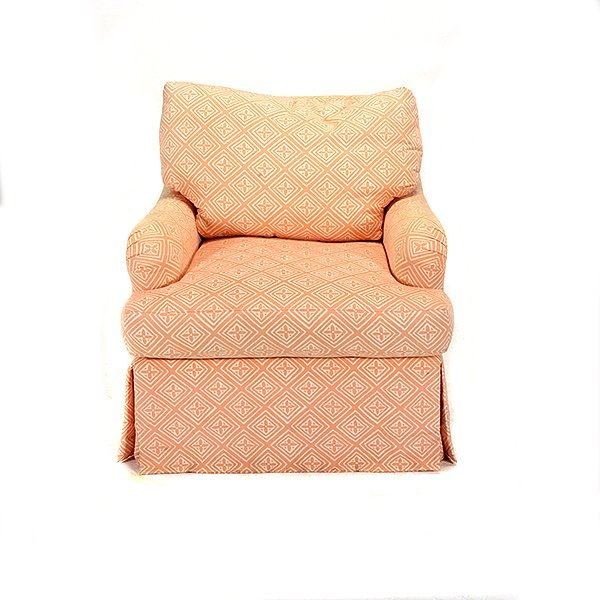 Pair of Apricot and Cream Patterned Upholstered Club - 2