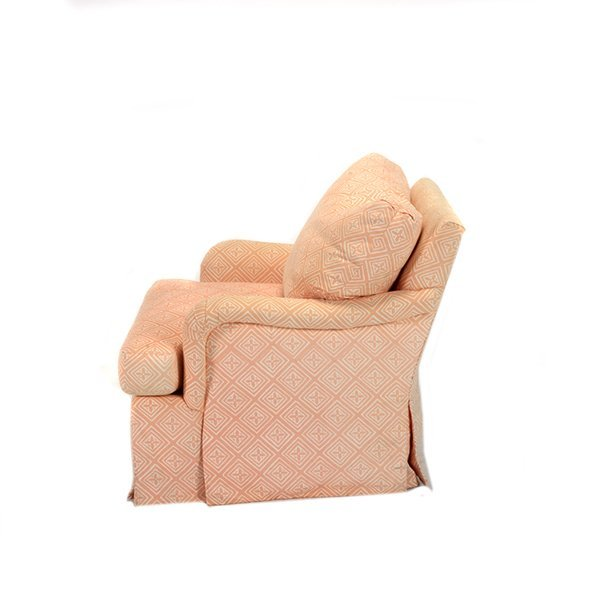 Pair of Apricot and Cream Patterned Upholstered Club - 3